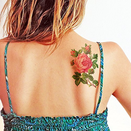Große Schöne Vintage Rose - Temporäres Tattoo - Tätowierungen Rose