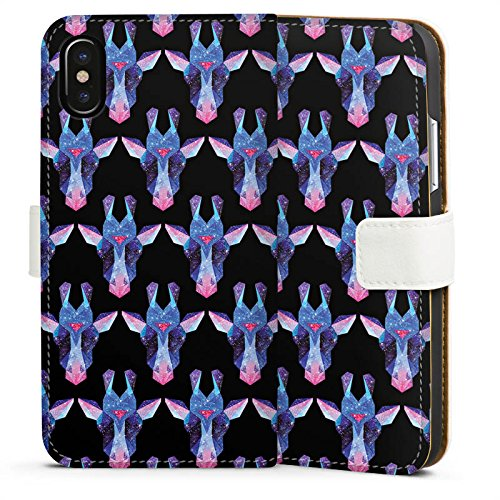 Apple iPhone X Silikon Hülle Case Schutzhülle Space Giraffe Galaxy Muster Sideflip Tasche weiß
