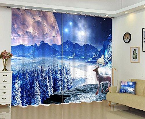 Tende per bambini finestra in poliestere oscuranti, fantasia 3d neve spessa paesaggio pannello isolante tenda, camera da letto decorazione soggiorno, blu, wide 150x high 166 (wide 75x2)