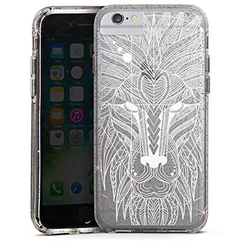 Apple iPhone X Bumper Hülle Bumper Case Glitzer Hülle Muster ohne Hintergrund Mandala Lion Bumper Case Glitzer rose gold