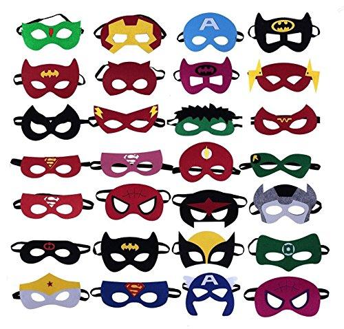 (LAOZHOU Superheld Masken Super Masken Weihnachten Maske Superheld Cosplay Party Augenmasken 28 Stück Filz Masken Masken - latexfrei, perfekt für Kinder ab 3 Jahren)