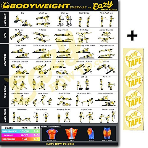 """Eazy How To Bodyweight Exercise Banner Workout Poster BIG 28 X 20"""" Train Endurance, Tone, Build Strength & Muscle Home Gym Chart"""