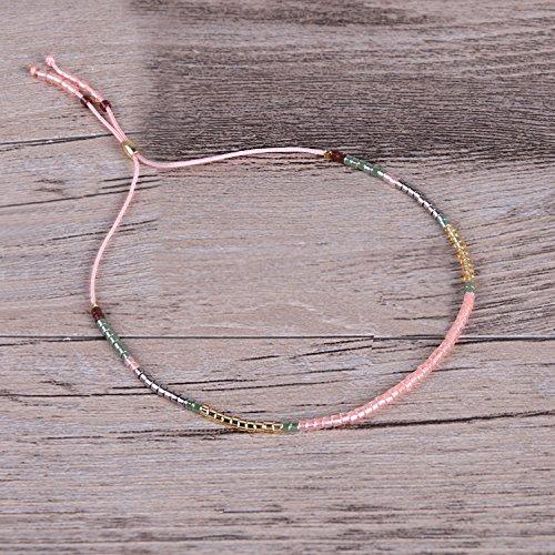 KELITCH Bohemian Armband Rocailles Perlen Handmade Mehrfarbig Zart Schnur Freundschaftsarmbänder - Mischen Rosa