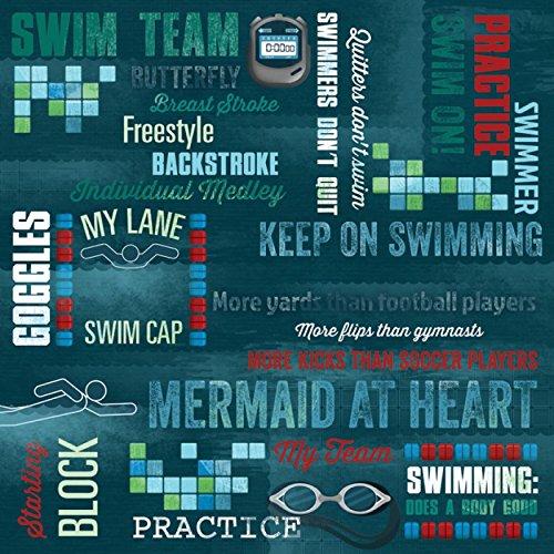 Unbekannt Taufe Papier 30,5x 30,5cm -Peaceful Waters 25Pro Pack schwimn Weiter Blau -