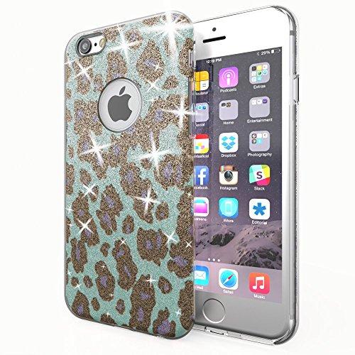 NALIA Purpurina Funda para iPhone 6 6S, Carcasa Protectora Movil Silicona Fina Glitter Leopardo Bumper Estuche, Lentejuela Cubierta Delgado Cover Case para Telefono Apple iPhone 6S 6 - Turquesa Azul