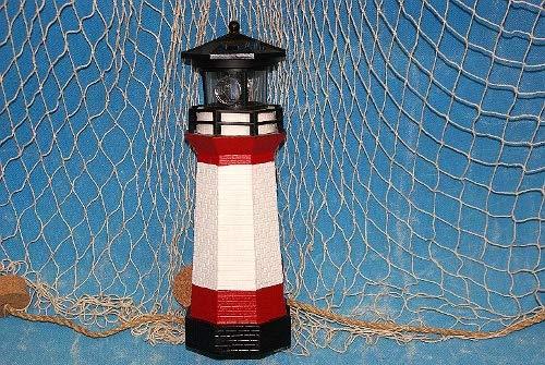 Solar Leuchtturm rot-weiss rotierendes LED-Licht 28 cm