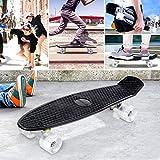 Enkeeo 57cm Mini Cruiser board Skateboard mit stabilen Deck 4 PU-Rollen für Kinder, Jugendliche und Erwachsene (Schwarz) -