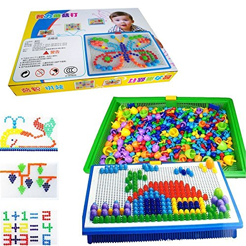 51ZMT Diy Science kids Mushroom Nails Mosaic the Composite Picture Jigsaw Puzzle Game Creative Mosaic Pegboard Educational Toys for Children (Random Colors)