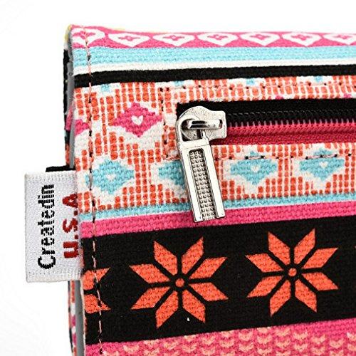 Kroo Téléphone, la Wristlet Étui en cuir avec carte de crédit support Convient pour Samsung Galaxy S6(CDMA) mehrfarbig - grün mehrfarbig - rose