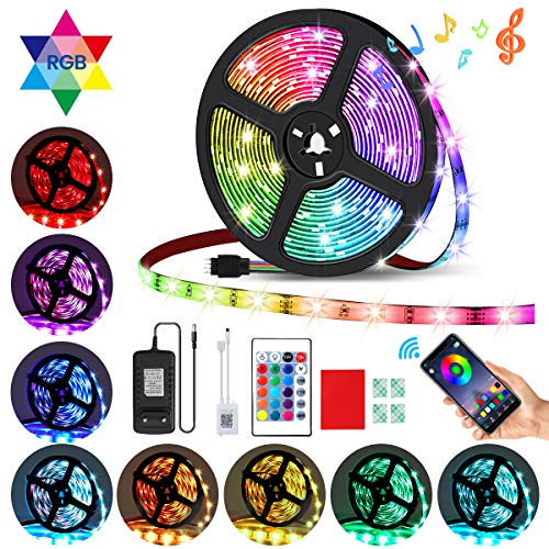 AMBOTHER LED Streifen 5m RGB LED Strip 150 LEDs 5050SMD Lichtband mit Fernbedienung Netzteil, 23 Lichtmodi, Sync mit Musik Timing via APP, Dimmbar Selbstklebend Schneidbar für Deko Innen Zimmer 12VDC -
