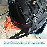 Wasserdichter Rucksack mit 45L + 5L 65L + 5LFassungsvermögen aus strapazierfähigem Nylon mit Regenschutzhülle. Großer Trekkingrucksack, perfekt zum Wandern, Bergsteigen, Reisen und für Sport und Camping. (Schwarz) -