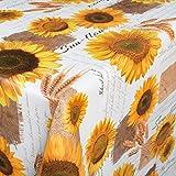 ANRO Wachstuch Wachstischdecke Wachstuchtischdecke abwaschbare Tischdecke Sonnenblumen Sommer Weizen Gelb 160 x 140cm