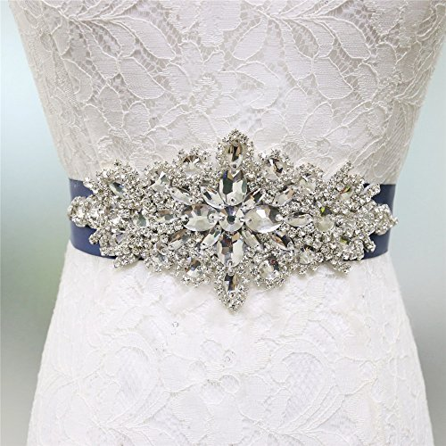 Zdada abito elegante nastro da sposa wedding belt sash cintura strass applique-8color ribbon opzioni, altro, navy blue, ra004