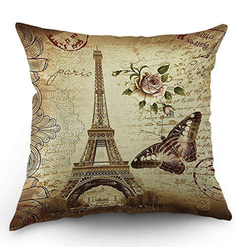 Paris Eiffelturm Kissen dekorative Dekokissen Decken Vintage Rose Blume mit Schmetterling Kissenbezug 18 x 18 Zoll Baumwolle Leinen Kissenbezug für Schlafsofa braun