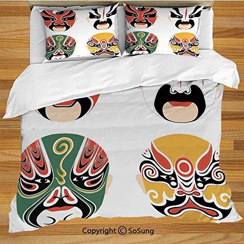 3 Detail Teilig Kostüm - Kabuki Maskendekoration Bettwäsche Bettbezug-Set, Kulturdrama Kostüme Künstlerische Orient Masken Ethnisch Mystisch Details Dekoratives 3-teiliges Bettwäscheset mit 2 Kissenbezügen, mehrfarbig