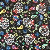 Schwarz Skulls Paisley Design 100% Baumwolle gedruckt Stoff für,, Kleid 152,4cm 150cm breit–Meterware