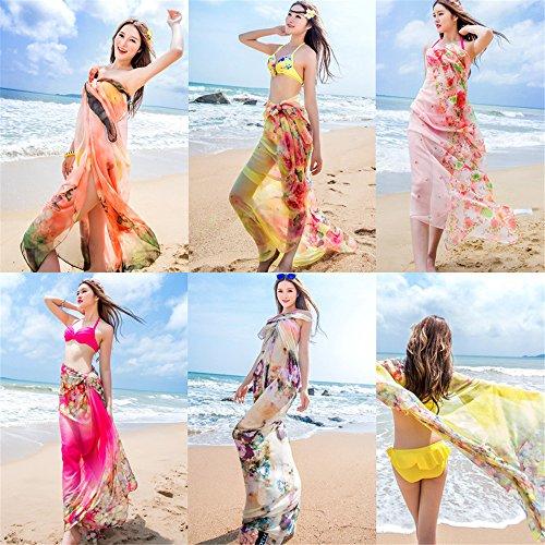 UK_Stone Damen Übergroesse Modisch Sarong Pareo Strandtuch Wickeltuch Bikini Sonnenschutz Decke Cover-up Dorf Gelb