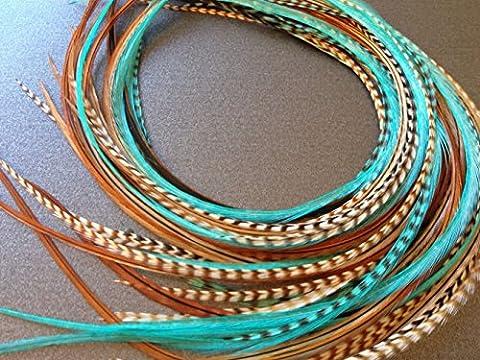 LA BEAUTE POUR TOUS 10 Extensions plumes Hivernal XXL 20-30 cm 100% naturel pour cheveux+ anneaux