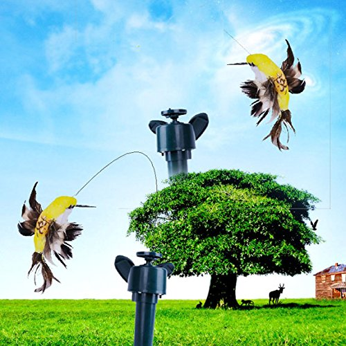Bluelover Energia solare artificiale Hummingbird rotazione svolazzanti Bird Garden Path Flowerpot decorazione