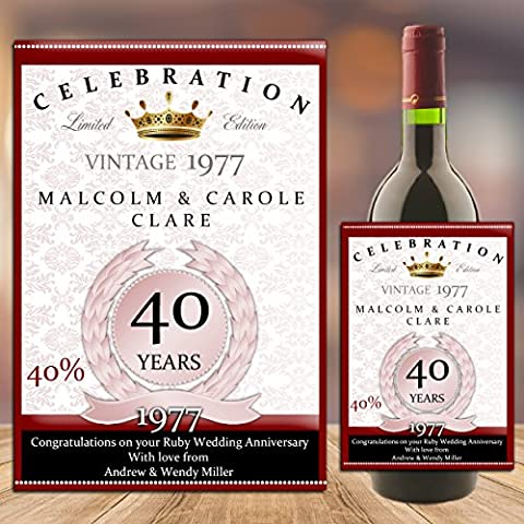 Personalised 40th Ruby Wedding Anniversary WINE / CHAMPAGNE BOTTLE LABEL