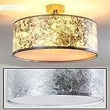 Retro Deckenlampe Foggia mit Stoffschirm in Silber - Deckenlampe mit textilem Lampenschirm - Ø 40 cm - Zimmerlampe für Wohnzimmer, Flur, Dielen, Schlafzimmer, Küche - 3x E14-40 Watt