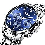 Herren Uhren,Uhr silber Edelstahl Armbanduhr,Luxus Design Blau Zifferblatt Wasserdicht Multifunktional Quarz Herren Uhren,ursächliche Business Kleid