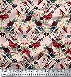Soimoi Pink Heavy Canvas Stoff Geometric Shapes & Baccara