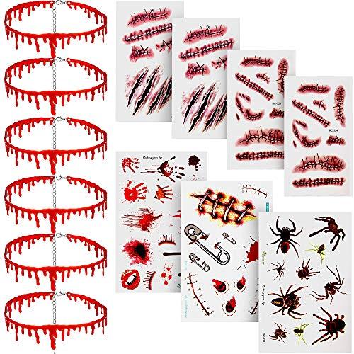 6 Stück Halloween Tropfen Blut Halskette Vampire Halsband Halskette Horror Thema Party Kostüme Satz Dekorationen mit 7 Stücken Narbe Aufkleber