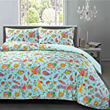 Gemma Hotel Quality Soft 230 Thread Count Floral Watercolour Paisley 100% Egyptian Cotton Sateen Satin with Non-Iron Finish Bedding Quilt Duvet Cover and Pillowcases Set (Blue, King)