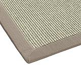BODENMEISTER Sisal-Teppich modern hochwertige Bordüre Flachgewebe, verschiedene Farben und Größen, Variante: beige natur weiss, 80x250