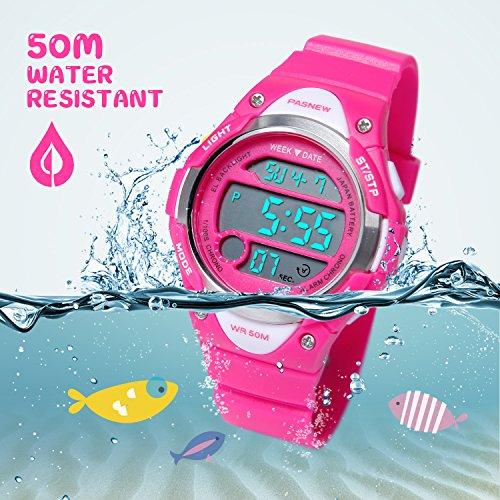 Hiwatch Kids Sport Watch 164 Feet Waterproof LED Digital Watch for Girls Rose Red