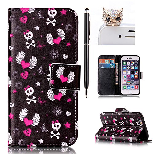 iPhone 6 Hülle,iPhone 6S Case - Felfy Flip Bookstyle Wallet Luxe Handyhülle Retro Painted Niedlich Farbe Muster Premium Slim PU Leather Stand Wallet Flip Lederhülle Case Cover Pouch Shell Soft mit TPU Rosa Schädel Case