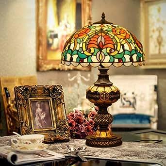 De style européen Lampe de table de restaurant Lampe de table Lampe de table Lampe de table en verre teinté de chevet café de bureau