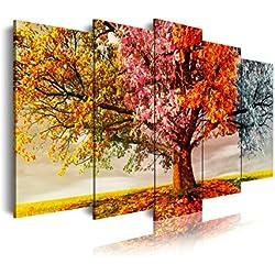 Cuadro moderno en lienzo 5 piezas paisaje en árbol cuatro estaciones, 150x3x80cm