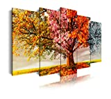DekoArte 401 - Cuadro moderno en lienzo 5 piezas paisaje en árbol cuatro estaciones, 150x3x80cm