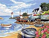 L'Art et la Manière Peinture au numéro motif Rivage Breton 30 x 40 cm Couleurs Assorties