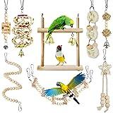 Juguetes para Pájaros, CAMITER 8 Piezas Pájaros Juguetes con Campanas, Escalera de Madera, Columpios, Juguetes para Masticar