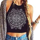 Mujer camiseta,Sonnena ❤️ ❤️ Patrón de sol estampado sin manga camiseta para mujer y chica joven casual sexy traje de verano fresco para citas Actividades al aire libre (L, NEGRO-2)