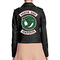 """BasingStoke - Giacca da motociclista in ecopelle, stile Riverdale, con scritta """"Southside Serpents"""", Cheryl Blossom"""