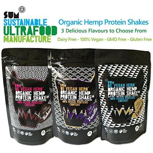 Protein Shake – Organic Hemp – 500g – Vegan – Gluten Free – Dairy Free – GMO Free – SUM Be Vegan Hero – Various Flavours (Cocoa)