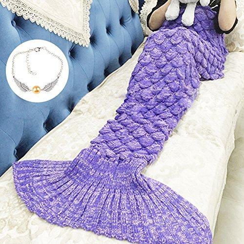 Meerjungfrau Schwanz Decke für Kinder, manuelle gehäkelte Decke, Jahreszeiten Warm, weiche Wohnzimmer, Schlafsack, bestes Geburtstagsgeschenk