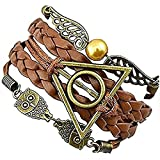 Harry Potter Pulsera de piel trenzada - Snitch con alas de ángel con lechuza y Reliquias de la Muerte, Pulsera amuleto