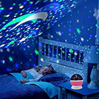 AZOD Plastic Star Projector Romantic LED Night Light 360 Degree Rotation 4 LED Bulbs 9 Light Color Changing with USB Cable (Multicolour)