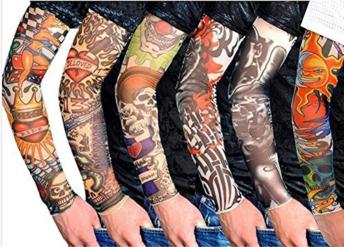 fake tattoo arm sunnior Neuheit Stretch Nylon gleiten Fake Tattoo Kit der Manschette Des Arm (Set von 6), B