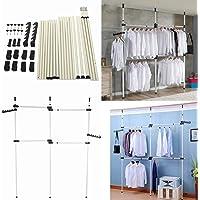 Garde-robe Télescopique pour Plafond Très Résistant Organiseur pour Vêtements Portant de Vêtement Porte-vêtement…