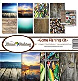 """NEW! Reminisce Collection Kit 12""""""""X12""""""""-Gone Fishing"""