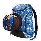 Kuangmi Rucksack mit Ball Tasche Schuhe der Tasche Wet Kleidung Taschen faltbar für Outdoor Sports Basketball Fußball Reisen Schule Gebrauch, blau