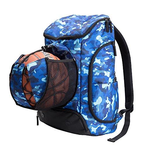 Kuangmi Rucksack mit Ball Tasche Schuhe der Tasche Wet Kleidung Taschen faltbar für Outdoor Sports Basketball Fußball Reisen Schule Gebrauch Blau 42L