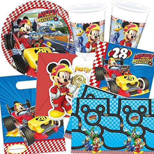 ET * MICKEY ROADSTER * für Kindergeburtstag mit 6-8 Kinder: Teller, Becher, Servietten, Einladungen, Partytüten, Tischdecke, Luftschlangen, Luftballons, u.v.m. // Mottoparty Micky Maus Mouse Rennen Auto Rennautos (Rennen-auto-einladungen)