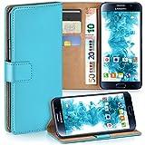 moex Samsung Galaxy S6 | Hülle Türkis mit Karten-Fach 360° Book Klapp-Hülle Handytasche Kunst-Leder Handyhülle für Samsung Galaxy S6 Case Flip Cover Schutzhülle Tasche